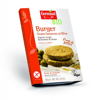 Image:  Organic burger Buckwheat & Olives