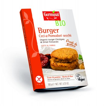 Image:  Organic burger chickpea & dried tomatoes
