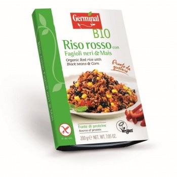 Image:  Organic Red rice with Black beans & Corn